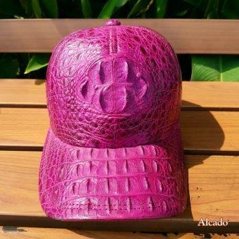 Mũ Da Cá Sấu Nữ Tím Cà