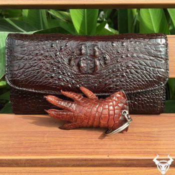 Bóp Da Cá Sấu Nữ Nguyên Con Nhỏ 3 Gấp VN01