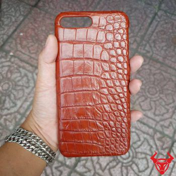 Ốp Lưng Da Cá Sấu Iphone 8 Plus Trơn Nâu Đỏ OG0408