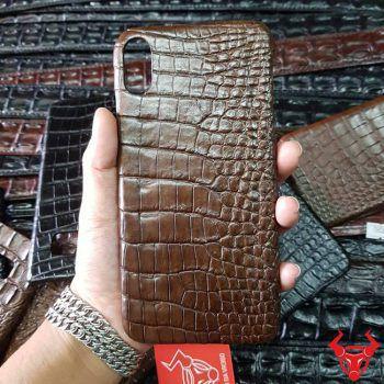 Ốp lưng Iphone XS Max Da Cá Sấu Trơn Nâu OA0208